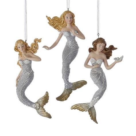 mermaid ornaments silver gold mermaid ornament trio mermaid gifts collectibles fairyglen