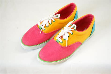 80 s sneakers neon colorblock sneakers canvas vintage 80s size by