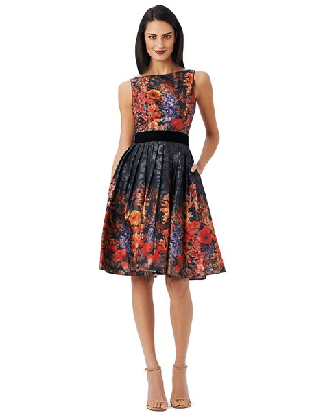 a line floral panel dress papell floral print pleated a line dress in black