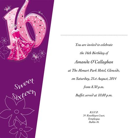 16th birthday card template occasion card 16 1w sweet 16th birthday wedding
