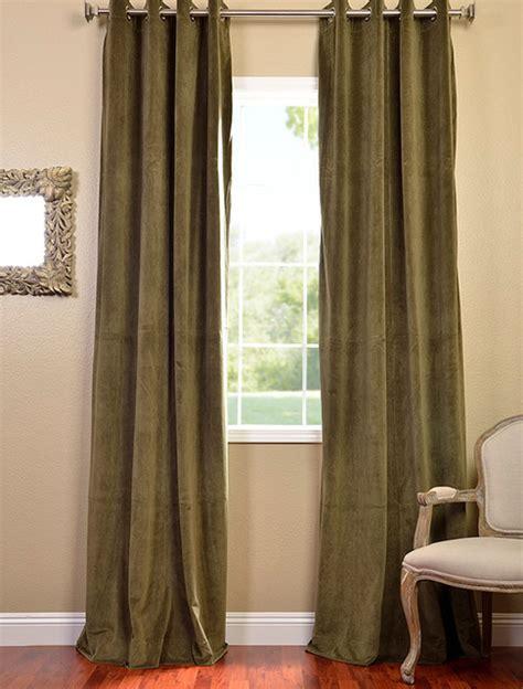 olive green velvet curtains hunter green grommet velvet blackout curtain
