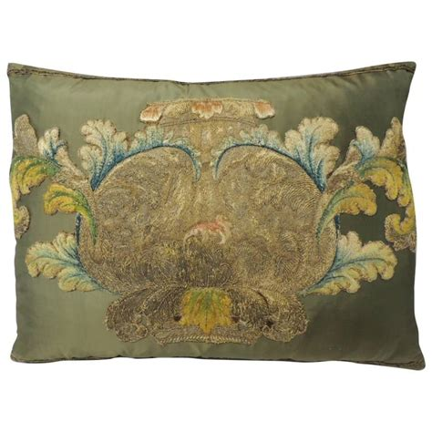green silk applique bolster pillow for sale at 1stdibs