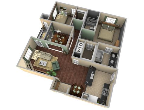 Designing A Small Kitchen Layout by 25 Two Bedroom House Apartment Floor Plans