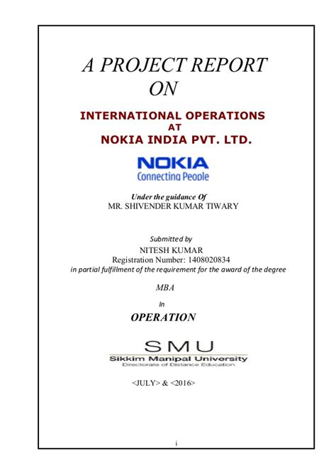 Nestle Project Report Mba by Operation At Nokia