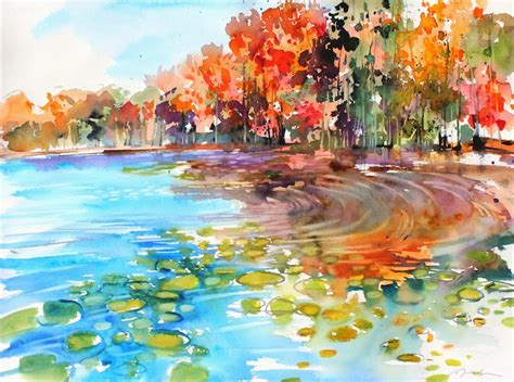 painting new 2013 large format new fall scape watercolor paintings