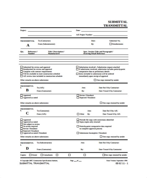 drawing transmittal form template 8 sle submittal transmittal forms sle templates