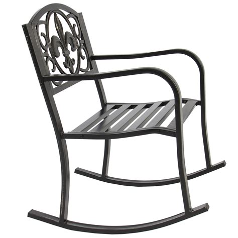 Metal Patio Rocking Chairs Patio Metal Rocking Chair Porch Seat Deck Outdoor Backyard Glider Rocker Ebay