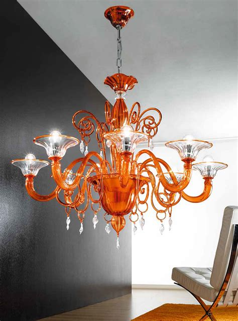 Orange Chandeliers Orange And Clear Murano Glass Chandelier Mll972k8 Murano Imports