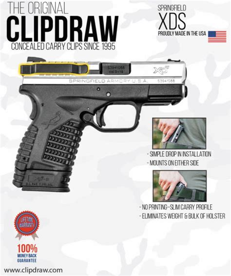 clipdraw ambidextrous belt  springfield xds concealed carry black  sale  ebay