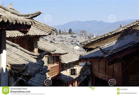 ancient roofs ancient roof in lijiang town yunnan china stock