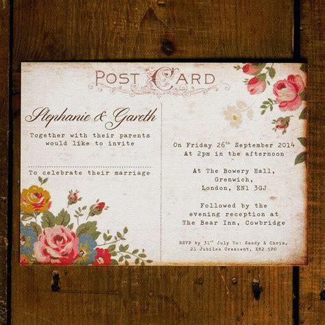 shabby chic floral illustration postcard wedding invitation set on luxury card wedding