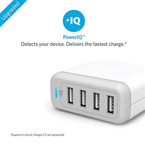 Anker Powerport 4 Wall Charger White Putih anker powerport 4 40w 4 port usb wall charger multi port