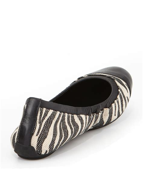 zebra shoes flats cole haan zebra print ballet flat in black lyst