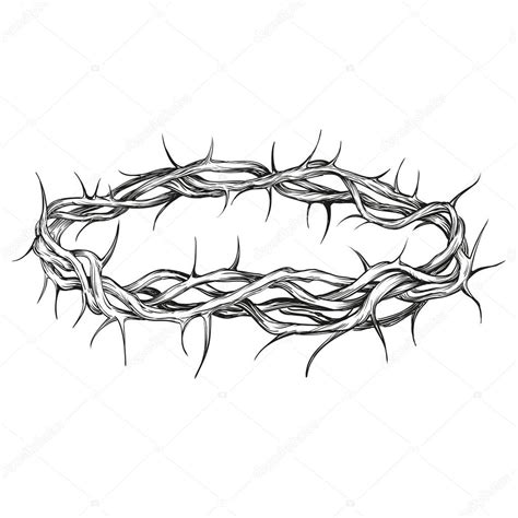 crown of thorns religious symbol hand drawn vector