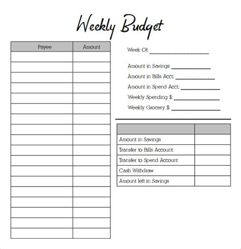 budget template pdf weekly budgeting worksheets wiildcreative