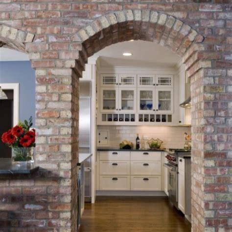 interior stone arch  kitchen architechture