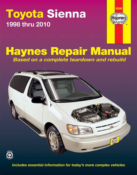 car engine manuals 2009 toyota sienna electronic toll collection toyota sienna 98 10 haynes repair manual haynes manuals