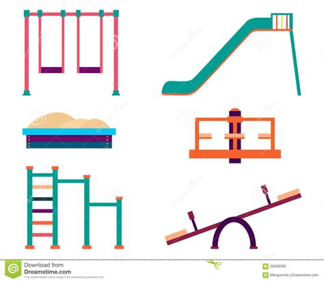 swing symbol playground icons set stock vector image of blue symbol
