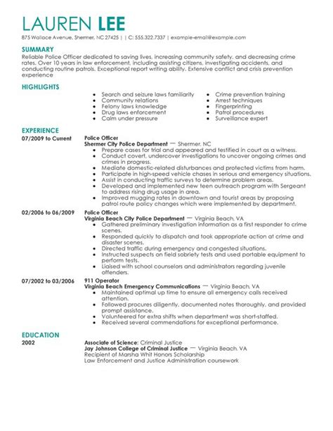 professional officer templates to showcase your talent myperfectresume