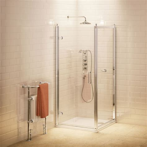 Hinged Shower Door With Side Panel by Burlington Traditional Hinged Shower Door Side Panel At Plumbing Uk