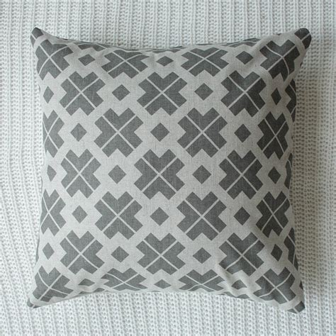 Grey Patterned Cushions | grey patterned linen cushion cover by silk burg