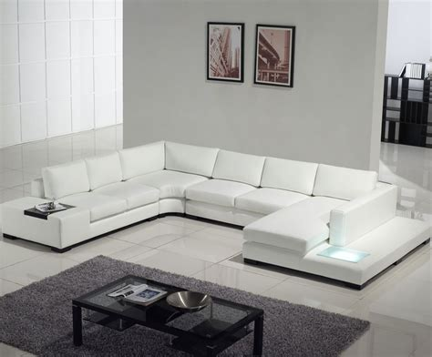 sofa with table built in contemporary white leather sectional sofa with built in
