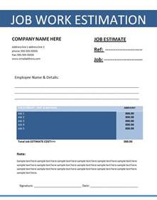 job estimation template free word templatesfree word