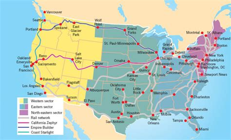 railway map of usa usa rail travel journeys travelbag