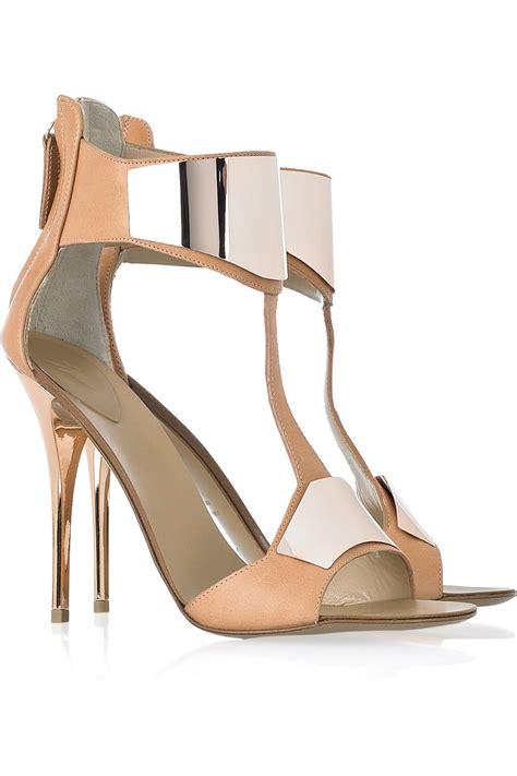 giuseppe zanotti gold sandals giuseppe zanotti henry leather t bar sandals in gold