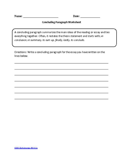 How To Write A Paragraph Worksheet by 16 Best Images Of 8th Grade Writing Worksheets 8th Grade