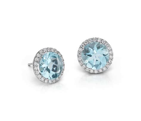aquamarine and halo earrings in 18k white gold 5