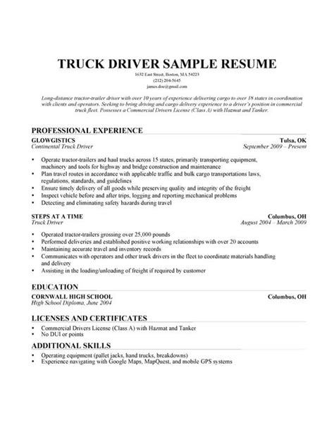 Truck Driver Resume Sample   Resume Companion