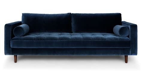 mid century modern velvet sofa blue velvet tufted sofa upholstered article sven