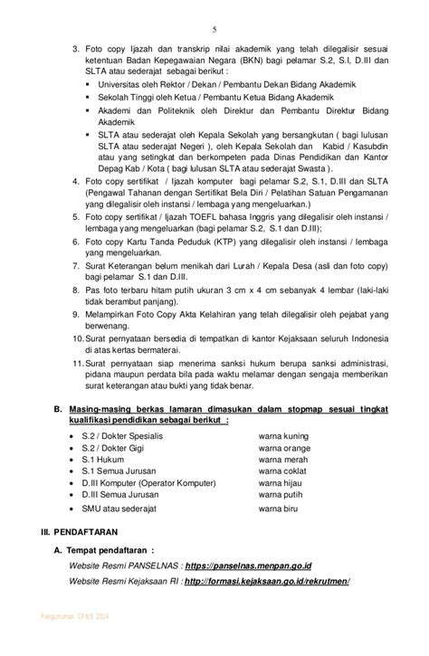 Contoh Surat Lamaran Kepada Jaksa Agung Muda by Pengumuman Pengadaan Cpns Kejaksaan 2014