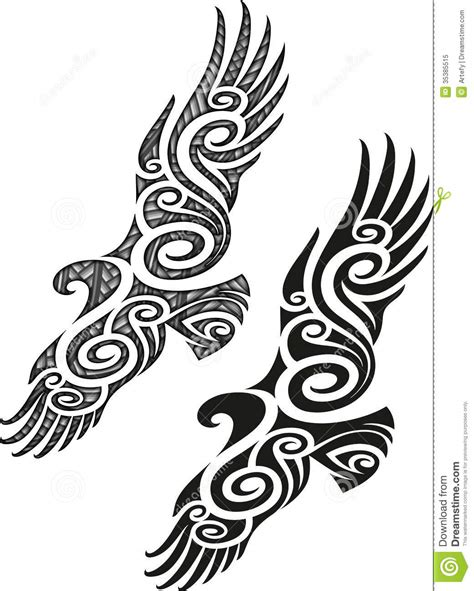 maori tattoo pattern eagle royalty free stock photo