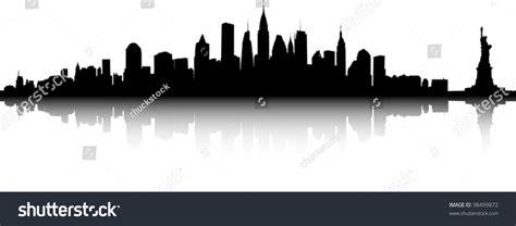 black white sihouette new york skyline stock vector 98499872