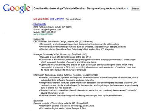 google themed resume out of the box things people have done to get their