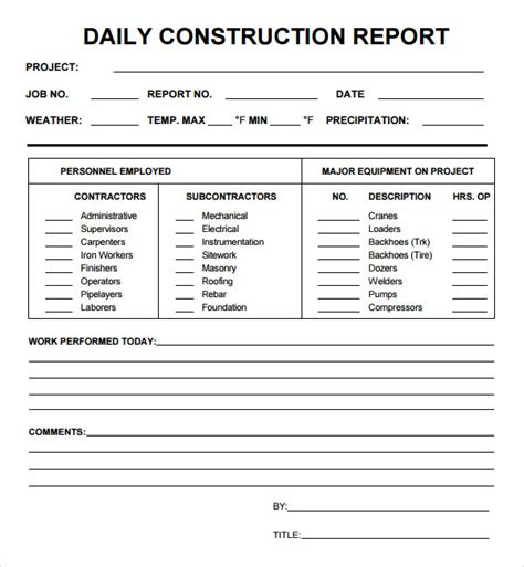 construction daily report template construction daily report