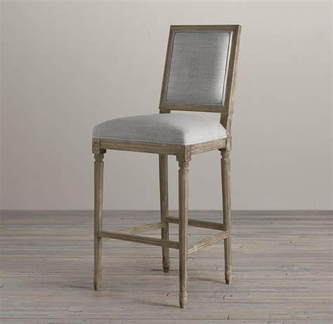 vintage french square upholstered barstool bar counter
