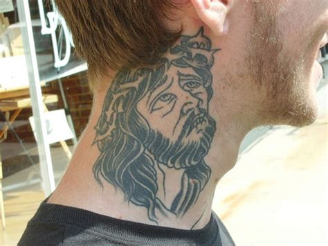 simple neck tattoos for men jesus designs for religious themed black