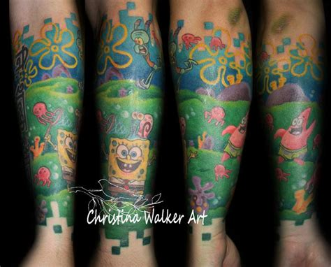 spongebob tattoo spongebob squarepants half sleeve by walker