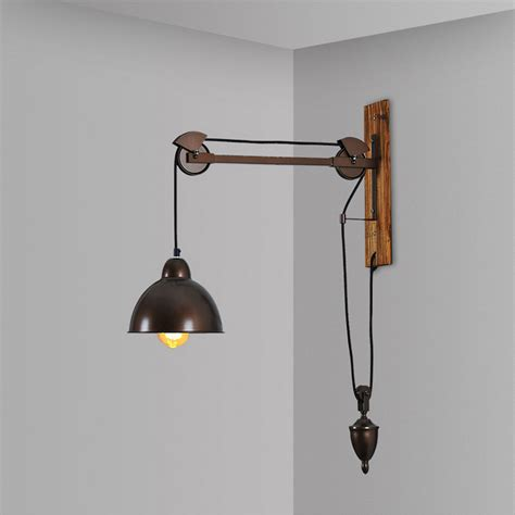 Pulley Light Fixture Pulley Light Fixtures Wall Ls Industrial Wall Lights Le Murale Iron Wood Home Lighting