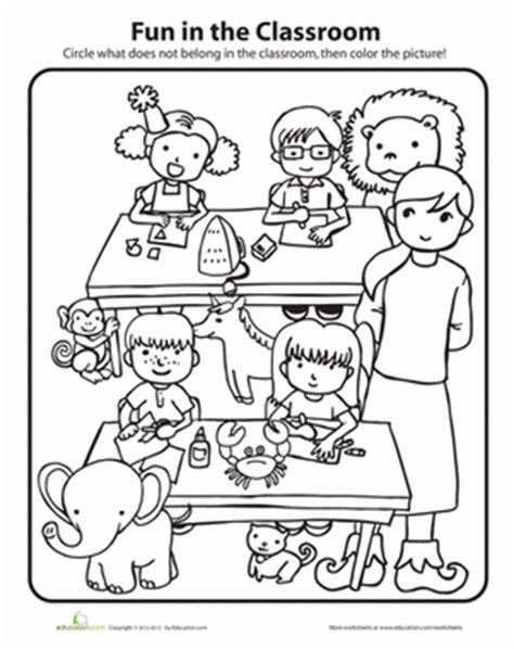 coloring pages for nursery class in the classroom worksheet education