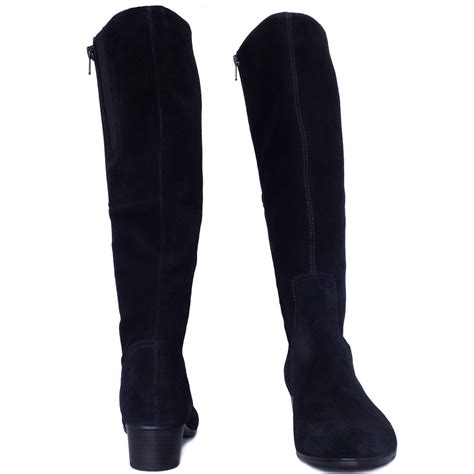 toye knee high boots in black suede