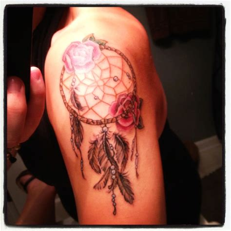 dreamcatcher tattoo with roses meaning pics for gt dream catcher tattoo with roses