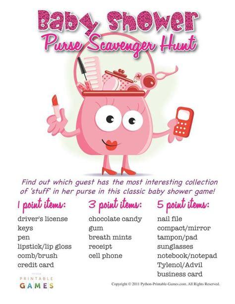 Baby Shower Scavenger Hunt List by Baby Shower