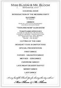 itinerary for wedding reception best agenda templates