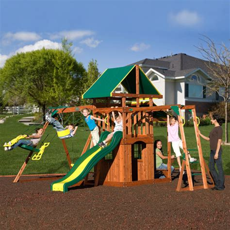 walmart playsets for backyard adventure playsets meridian cedar wooden swing set