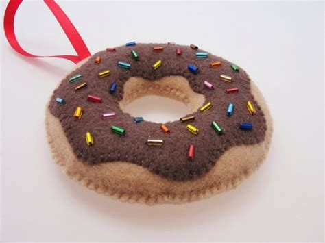 Handmade Felt Ornaments - chocolate donut handmade felt ornament