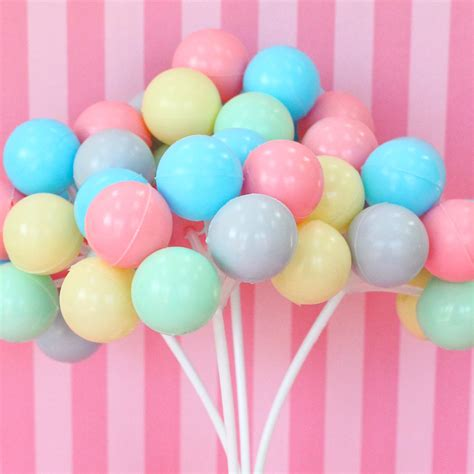 02945 Balon Birthday Balon Happy Birthday Set 3 pastel balloon cupcake cake toppers plastic balloon clusters from crankycakesshop on